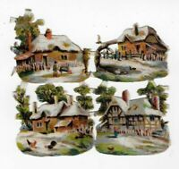"STUNNING ALPINE VICTORIAN ENGLISH COTTAGES THATCHED ROOFS, Antique Scrap, 1.5"" E"