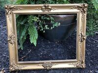 "Antique Victorian Ornate Gilded Wood Picture Frame Gesso Baroque 25.5"" X 21.5"""