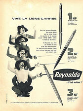 PUBLICITE ADVERTISING 025  1961   REYNOLDS stylo bille  ligne carrée