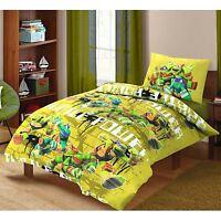 Kids Children Turtles Power 100% Cotton Quilt Duvet Cover Pillowcase Bedding Set