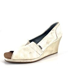 TOMS Ivory Canvas Cork Open Toe Wedge Sandals Womens Size 11 M *
