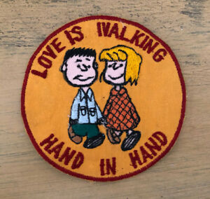 Vintage Peanuts Patch Love Is Walking Hand In Hand