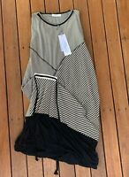 New M.E.L Australia Size 10 Dress Discreet Stripe Black Cream RRP $368