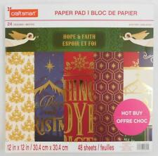 Craft Smart Holiday Christmas Paper Pad New 48 12x12 Sheets Hope & Faith