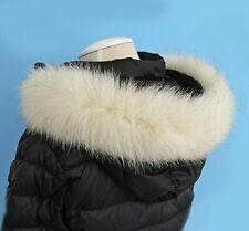 Real Genuine Fox Fur Collar Trim for Hood Replacement White Stripe Parka 70 cm