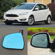 Rearview Mirror Blue Glasses LED Turn Signal with Power Heating For Ford Focus