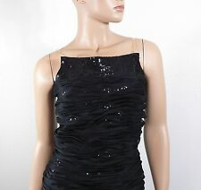 Julian Joyce by Mandalay Black Sequin Ruched Silk Dress Size 6 $475