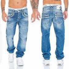 Cipo & Baxx Jeans Herren Regular Fit Hose 1127 Blau Kontrast Nähte Relaxed
