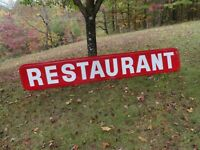 Heavy plastic embossed RESTAURANT advertising sign 12' x 2'