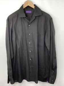 RALPH LAUREN Purple Label Long Sleeve Linen Camp Shirt, Black, Large, Italy