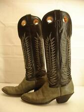 Mens sz 8 D M Nocona Boots Cowboy Buckaroo Bullhide leather black gray knee high