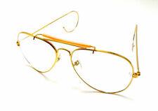 BEEFY 14k Gold Aviator Shooting Glasses Sunglasses Clear Lens RETRO AVIATORS