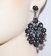BLACK ONYX AND BLACK DIAMOND CRYSTAL FLOWER EARRINGS