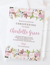 10  GIRLS CHRISTENING INVITATIONS or THANK YOU CARDS - PRETTY PINK FLORAL