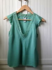 GAP silk top with crochet v-neck detail green size small