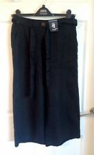 Black Marks and Spencer Cropped Linen Trousers Size 8