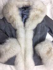 Sheri Bodell Blue Suede Blush Fox Fur Trim Coat Jacket Brushed Suede Sz S NWOT