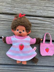 Kleidung Kleid + Tasche für MONCHICHI Teddy Gr. 20 cm Puppenkleidung Erdbeere