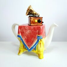 More details for 1980s tony carter, suffolk collectable ceramic gramophone teapot in red & yellow