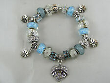 "GORGEOUS 925 SILVER STAMPED 20cm EUROPEAN STYLE CHARM BRACELET "" BELIEVE """