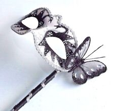 BLACK SILVER WITH BUTTERFLY VENETIAN MASQUERADE PARTY MASKS LADIES MASK ON STICK