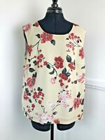 Basler Ladies Sleeveless Summer Top Floral Print Cream & Red Lined Size Large 16