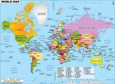 "World Political Map (Wall Map) 36"" x 26"" Laminated"