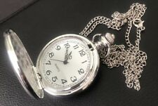 SILVER SMOOTH FULL HUNTER POCKET QUARTZ WATCH PENDANT NECKLACE CHAIN
