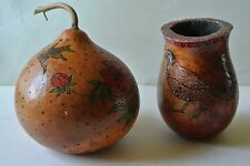 Southern Oregon Klamath Native American Hand-Made Painted & Burnished Gourds