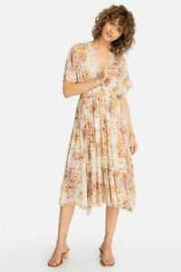 JOHNNY WAS ODEYA FLORAL PRINT SILK LACE RUFFLE MAXI DRESS SIZE L NEW WITH TAGS