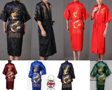 c65f2efccb UK Men s Silk Satin Robe Nightwear Japanese Chinese Kimono Dressing Gown  Bath