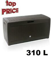 More details for large brown outdoor storage box garden patio rattan pattern container 310l
