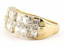 Ring in 14k Solid Yellow Gold Women's 3.0 ct Simulated Diamond Cluster