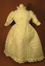 "Vintage Doll Dress for 17""-18"" Bisque Doll - Off-White Cotton Eyelet w/Tucks"