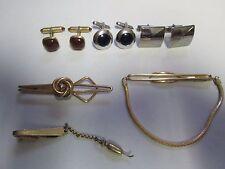 Vintage Lot Men's Jewelry Cufflinks & Tie Clasp Bars Krementz Swank Hickock