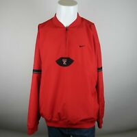 Nike Red Quarter Zip Vented Back Texas Tech Red Raiders Bomber Jacket Mens XL