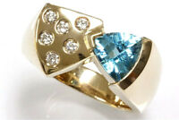 1.66 ct tw Natural Blue Topaz & Diamond 14k Yellow Gold Woman Cocktail Ring