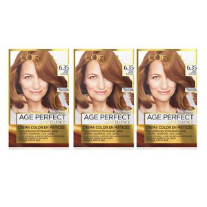 3x L'Oreal Permanent Hair Dye Perfect 6.35 Light Warm Auburn Hair Dye