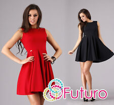 Elegant Women's Mini Dress Skater Style Crew Neck Sleeveless Tunic FA282