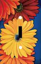 BRIGHT RED ORANGE YELLOW GERBERAS FLOWERS LIGHT SWITCH PLATE COVER