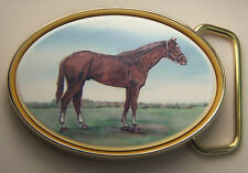 Belt Buckle Barlow Photo Reproduction Traditional Thoroughbred Horse 590612c NEW