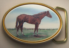 Belt Buckle Barlow Reproduction in color Traditional Thoroughbred Horse 590612c