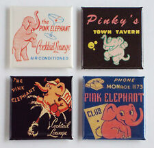 Pink Elephant FRIDGE MAGNET Set (2 x 2 inches each)