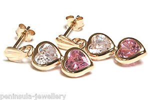 9ct Gold CZ Drop Earrings Double Heart Gift Boxed Made in UK