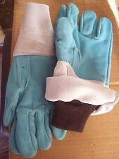 "National Safety Apparel DJXG465 14"" LEATHER FOUNDRY GLOVES BLUE GREY CUFF"