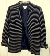Talbots L/S Navy Blue & White Striped Lined Jacket Sz 8