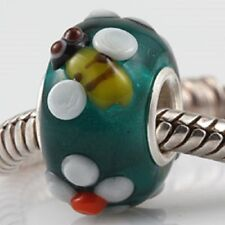 925 Sterling Silver Core Murano Lampwork Glass Bee Charm Bead