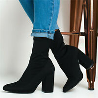 Womens Stretch Sock Pointed Toe Ankle High Booties Shoes Chunky High Heel Boots
