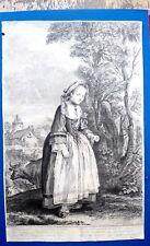 Eau forte et burin (à restaurer), Jeune mariée, Daullé d'après Van Loo, XVIIIe