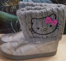 Sanrio Hello Kitty Girls Size 4 Winter Boots Gray Sweater Pink Free Shipping